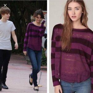 Free People Purple Lace Striped Long Sleeve